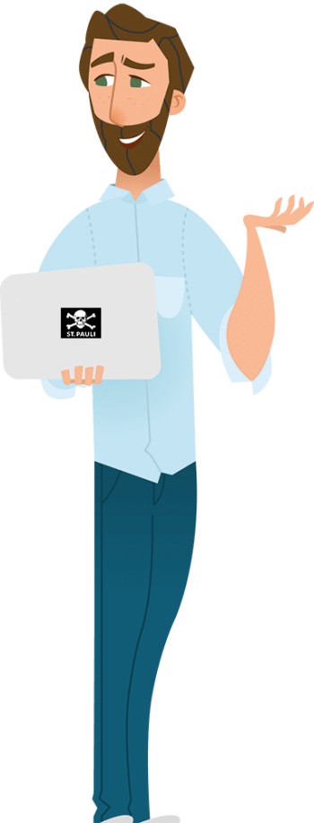 Stefan Burkard als Avatar mit Laptop und Logo des FC St. Pauli © Stefan Burkard